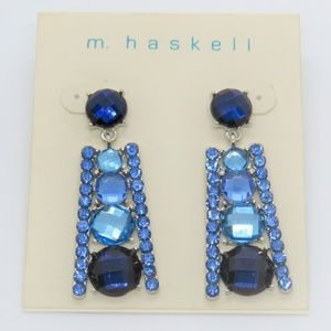 m haskell Blue Graduated Round Circle Drop Earring